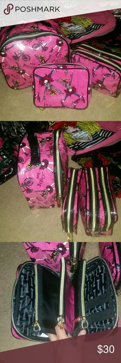 """Betsey Johnson """"Ride With Me!"""" 3 piece Travel Set Limited Edition Cartoon Comic print Travel Toiletries bag's. All in Great Clean condition! Betsey Johnson Bags"""
