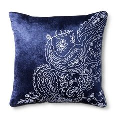 Threshold™ Embroidery Decorative Pillow - Navy