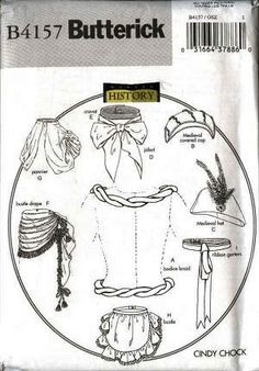 Butterick 4157 Historical Costume Pattern Victorian Medieval Accessories, Hat, Apron, Cravat, Bustle Drape , Gaters