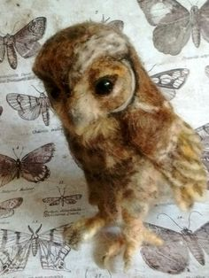 Original Cute Needle Felted Flamulated Owl Owlet by Artist Robin Joy Andreae   #AllOccasion