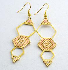 Earrings Beadwork Long Geomitric Earrings Boho Earrings