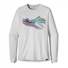 Patagonia Capilene 1 Silkweight Graphic Crew Mountain Stripe: White-30
