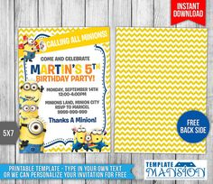17 best minion invitation printables images minion birthday