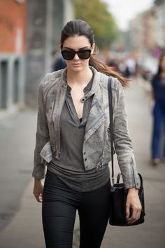 Kendall Jenner Gray Suede Jacket 2017 Street Style