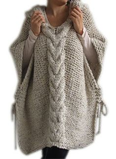 New Fubotevic Women Poncho Solid Color Hooded Twist Knitted Sleeveless Shawl Pullover Sweaters online – Thetrendyclothes Crochet Poncho, Loose Sweater, Knit Fashion, Women's Fashion, Pullover Sweaters, Women's Sweaters, Knitwear, Sweaters For Women, Clothes For Women