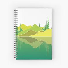 Illustration of a lake scene and a reflection. The artwork makes use of simple lines, a lime colour pallet and geometric pattern. Did you know that lakes are large bodies of water that are surrounded by land and are not part of an ocean?  #notebook #lakescene #murkywater #foresttrees #mountains #reflections #naturelover #geometricpattern #green #shades of lime #simplistic lines #aesthetic #minimalist #visco #tiktok Green Shades, Simple Lines, Color Pallets, Vignettes, Lakes, Bodies, Reflection, Minimalist, Notebook