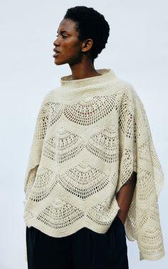 Mohair-Blend Crochet Cape Sweater by Tuinch Crochet Jumper, Crochet Cape, Knit Crochet, Knitting Stitches, Hand Knitting, Woven Wrap, Modern Crochet, Textiles, Crochet Designs