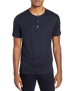 Theory Essential Regular Fit Stretch Linen Henley In Eclipse Theory Clothing, Essentials, Short Sleeves, Mens Fashion, Fitness, Mens Tops, Clothes, Shopping, Products