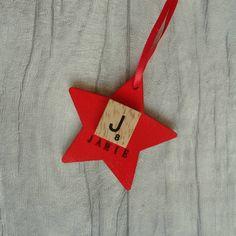 Custom initial star ornament Personalised Christmas