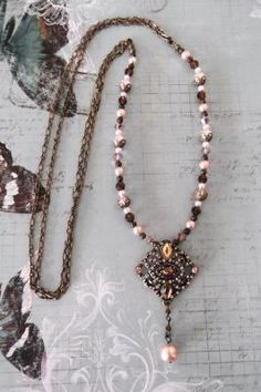 """""""Peach and Pale Gold"""" necklace & earrings set  $28"""