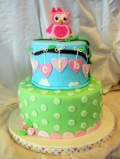 Owl and Dots — Children's Birthday CakesFondant Owl Cake Topper Owl Cake birthday party girl boys kids kid chil children Owls Owl hibou gateau