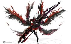 headphones brunettes wings gloves white skirts weapons red eyes thigh highs simple background anime Art HD Wallpaper
