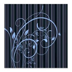 Floral Swirl Stripes Shower Curtain