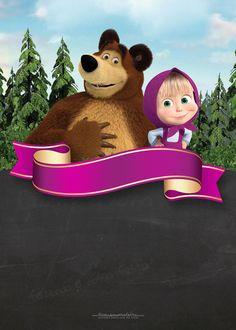 Masha & the bear blackboard 4th Birthday Cakes, Bear Birthday, 2nd Birthday, Free Printable Invitations, Party Printables, Marsha And The Bear, Happy Birthday Wishes Sister, Bear Theme, Bear Party
