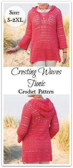 Show off your unique style! Spring calls for flattering style, color and lace an… Show off your unique style! Spring calls for flattering style, color and lace and this tunic delivers all three. Crochet Jumper, Crochet Jacket, Crochet Cardigan, Knit Crochet, Crochet Tops, Crochet Sweaters, Mode Crochet, Unique Style, Vest Pattern