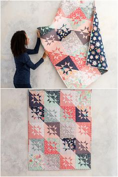 Milky Way Dreamfield Quilt Kitby Monique Dillard featuring Featuring   Lily & Loom Dreamfield.  Fat quarter friendly star quilt kit and   quilt pattern.  Sawtooth star quilt.  affiliate link.