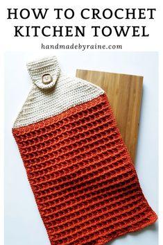 Let's crochet Scandinavian style kitchen towel in waffle stitch Crochet Towel Holders, Crochet Dish Towels, Crochet Towel Topper, Crochet Kitchen Towels, Crochet Dishcloths, Crochet Home, Crochet Crafts, Crochet Yarn, Free Crochet
