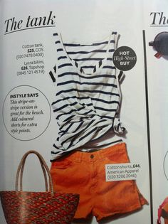 Striped tank + orange shorts via instyle.com Cruise Outfits, Summer Stripes, Orange Shorts, Clothes Line, Striped Tank, American Apparel, Spring Summer Fashion, Stitch Fix, What To Wear