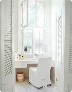 I use shutters for doors as well, or will be when I refinish them, Bathroom to Bedroom and closet. Lovely.