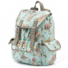 Candie's Anna Floral Cargo Backpack (Blue) (19.165 CRC) ❤ liked on Polyvore featuring bags, backpacks, blue, floral print backpack, military rucksack, blue backpack, drawstring backpack and green bags