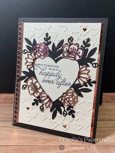 Priscilla's Papercrafts: Lots of Hearts Valentine Love Cards, Valentines Diy, Anna Griffin Cards, Stampin Up Catalog, Stamping Up Cards, Anniversary Cards, Wedding Anniversary, Heart Cards, Homemade Cards