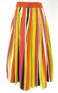 AUTH HERMES Orange Yellow Pink Cotton Striped A-Line Pleated Long Skirt Sz 44 at www.ShopLindasStuff.com