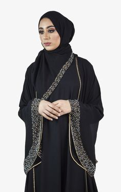 A gorgeous piece that breathes graceful, available in colours pink and black. Rimmed with sequins and paired with matching scarves, this abaya is light and weightless, perfect for a summer time special occasion. Swan, Summer Time, Evening Gowns, Sequins, Fashion, Evening Gowns Dresses, Moda, Swans, Evening Dresses