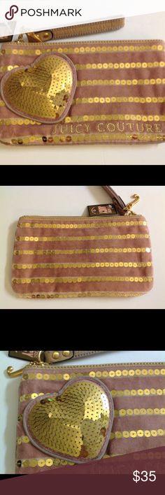 """pink gold sequins heart zipper wristlet pouch Juicy Couture pink gold sequins heart zipper wristlet pouch wallet velour J- Charm - strap 5.25""""-pink with gold sequins Sequins heart appliqué- Interior: 3 credit card slots 8.5""""x5"""" measurements New with tags Juicy Couture Bags Clutches & Wristlets"""