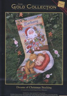 Dreams of Christmas Stocking Dimensions 8497 Cross Stitch Christmas Stockings, Cross Stitch Stocking, Xmas Cross Stitch, Xmas Stockings, Christmas Cross, Cross Stitching, Cross Stitch Embroidery, Cross Stitch Patterns, Needlepoint Patterns