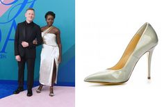 Be Inspired by 12 Beautiful Looks From CFDA Fashion Awards 2017 | Paul Andrew and Lupita Nyong'o in custom Jason Wu and Paul Andrew shoes. (GETTY) | Stiletto Shoe