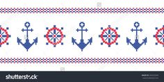 Sea. Nautical symbols. Anchors. Ship wheels. Border. Cross stitch. Scheme of knitting and embroidery. Vector seamless pattern.