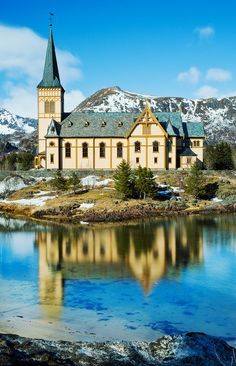 Vågan Church (Lofoten Islands, Norway) by Christopher Waddell on Lofoten, Oslo, Beautiful Buildings, Beautiful Places, Beautiful Norway, Norway Travel, Fjord, Cathedral Church, Old Churches