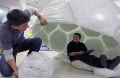 Housing for the Homeless: 14 Smart   Designed by a 12-year-old boy, the Home Dome makes use of a waste material that happens to provide a lot of insulation from the weather. For his entry in the Design Squad Trash to Treasure competition, Max Wallack won $10,000 and a Dell laptop computer for the structure, which is made of discarded plastic bags filled with styrofoam packing peanuts.