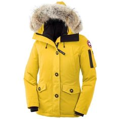 Canada Goose Montebello Parka ($562) ❤ liked on Polyvore featuring outerwear, coats, military coat, canada goose, military parka coat, slim coat and yellow coat
