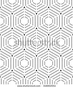 Geometric repeating vector ornament with dotted hexagons. Seamless abstract modern black and white pattern