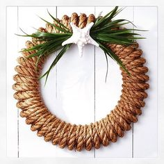 Pin for Later: 39 Strikingly Unique Holiday Wreaths Nautical rope Coastal Wreath, Nautical Wreath, Nautical Rope, Coastal Decor, Starfish Wreath, Driftwood Wreath, Coastal Christmas, Christmas Crafts, Christmas Decorations
