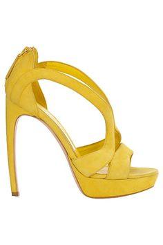 Alexander McQueen, yellow arched heels, in love