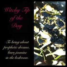 Witchy Tip of the Day: To bring about prophetic dreams, burn jasmine in the bedroom.