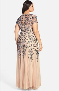 {Plus Size Bridal Fashion Find} Floral Beaded Godet Gown |  Adrianna Papell