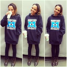 """China Anne McClain Totally Rockin' A """"Monsters University"""" Sweatshirt China Anne Mcclain Instagram, Beautiful Outfits, Cool Outfits, Childhood Tv Shows, Monster University, Famous Women, Disney Outfits, Wicked, Graphic Sweatshirt"""