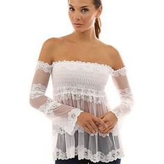 Blusas 2017 Spring summer Sexy Women sheer Blouses Off Shoulder Lace Crochet Shirts Long Sleeve Casual Tops Blouse Plus Size Sexy Outfits, Stylish Outfits, Stylish Clothes, Vestido Strapless, Black And White Shirt, White Shirts, Black White, White Lace, Sexy Blouse