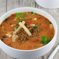 Green Lentil Soup, Green Lentils, Gluten Free Recipes, Great Recipes, Food And Drink, Nutrition, Dinner, Ethnic Recipes, Tomato Soup