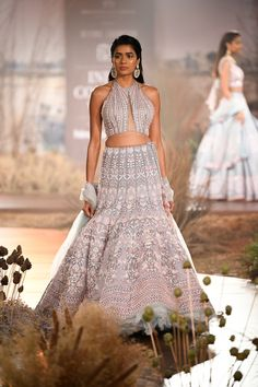 Grey and Peach Designer Wedding Lehenga Online from India Couture Week For more details please contact us through WhatsApp Indian Cocktail Dress, Tea Length Cocktail Dresses, Simple Cocktail Dress, Plus Size Cocktail Dresses, Lehenga Designs, Bridal Lehenga, Lehenga Choli, Wedding Lehnga, Lehnga Dress