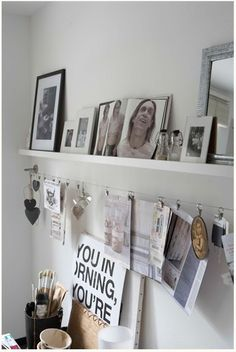 Picture shelf plus wire for random keepsakes