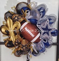 House divided New Orleans Saints/ Dallas Cowboys Wreath with Fleur de Lis and large football