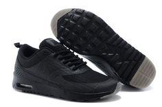 Fashion Nike Air Max Thea Print Glow in The Dark All Black Shoes,