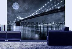 Mural Wall Art Photo Decor Brooklyn Bridge Large 8-feet 4-inch By 12-feet Wall Mural for Living Room or Bedroom