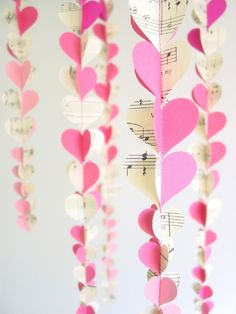 Easy to make with heart paper punch. Ombre Heart Garlands - Set of 6