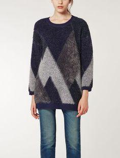 Heavy knit patchwork shirt