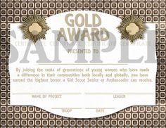 Girl Scouts Senior or Ambassador Gold Award Certificate Girl Scout Gold Award, Girl Scouts, Young Women, Certificate, Awards, Presents, Printable, Handmade Gifts, Etsy